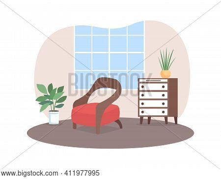 Living Room 2d Vector Web Banner, Poster. Armchair And Other Furniture. House Plant. Cosy Family Hom