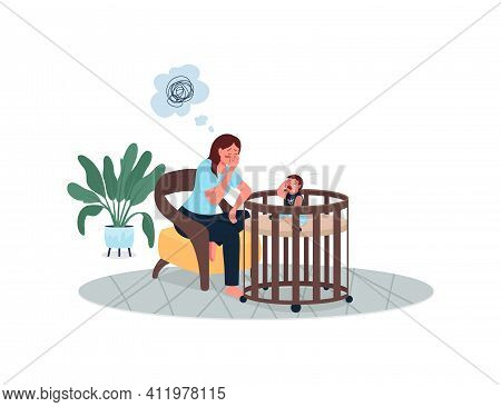 Depressed Mother With Crying Baby Flat Color Vector Detailed Characters. Fatigue And Burnout. Sad Wo
