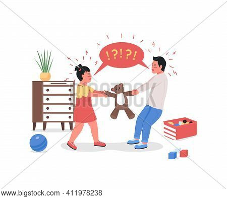 Quarreling Children Flat Color Vector Detailed Characters. Siblings Fight Over Toy. Kids Arguing In
