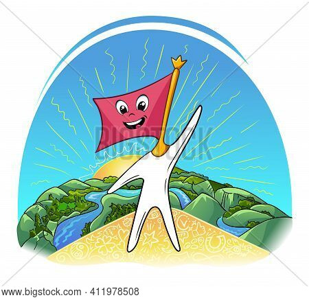 Concept Of Victory In The Form Of A Hero Flag On The Mountain. Self-belief Illustration