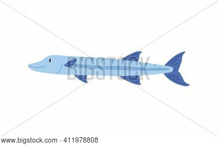 Cute Smiling Sea Pike Isolated On White Background. Side View Of Simple Marine Fish. Childish Colore