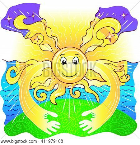 Illustration Of Care And Sun And Support