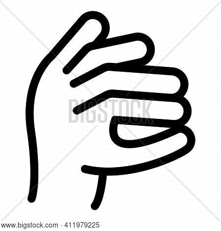 Hand Gesture Funny Icon. Outline Hand Gesture Funny Vector Icon For Web Design Isolated On White Bac
