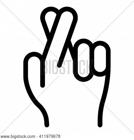 Hand Gesture Good Luck Icon. Outline Hand Gesture Good Luck Vector Icon For Web Design Isolated On W