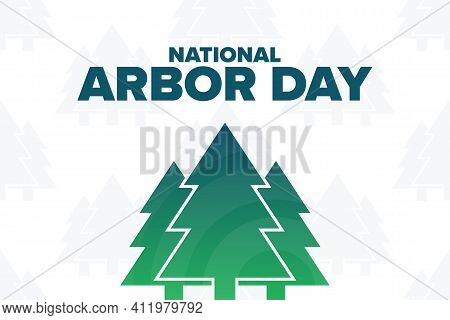 Arbor Day. Holiday Concept. Template For Background, Banner, Card, Poster With Text Inscription. Vec