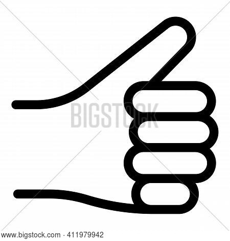 Hand Gesture Thumb Up Icon. Outline Hand Gesture Thumb Up Vector Icon For Web Design Isolated On Whi