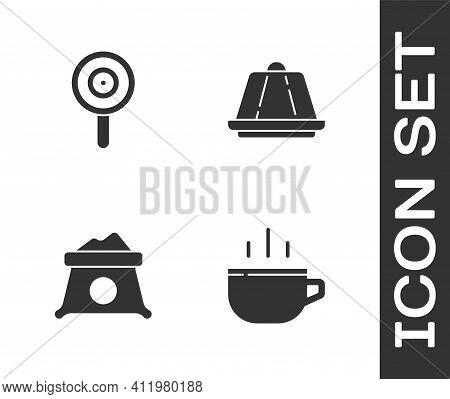 Set Coffee Cup, Lollipop, Bag Flour And Pudding Custard Icon. Vector