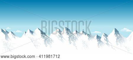 Snowy High Mountains. Rocky Mountains. Blue Sky. Mountain Snowy Landscape. Highlands.