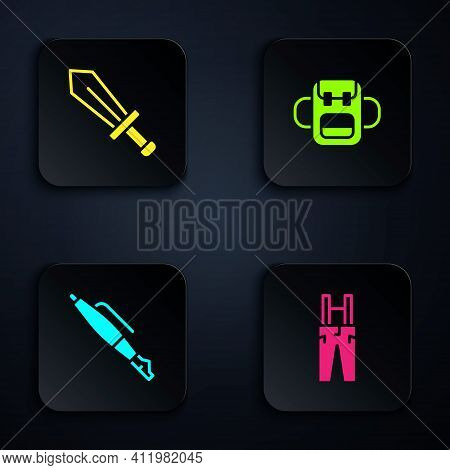 Set Pants With Suspenders, Sword For Game, Fountain Nib And School Backpack. Black Square Button. Ve
