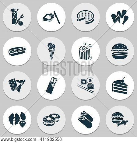 Snacks Icons Set With Spring Rolls, Set Of Nuts, Vegetarian Kebab And Other Donut Elements. Isolated