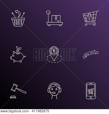 Commerce Icons Line Style Set With Call Center, Returns, Mobile Shop And Other Discount Elements. Is