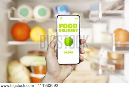 Online Food Delivery App In A Mobile Phone. Food Market Service In Smartphone. Grocery Delivery Back