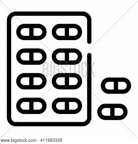Optometry Pills Icon. Outline Optometry Pills Vector Icon For Web Design Isolated On White Backgroun