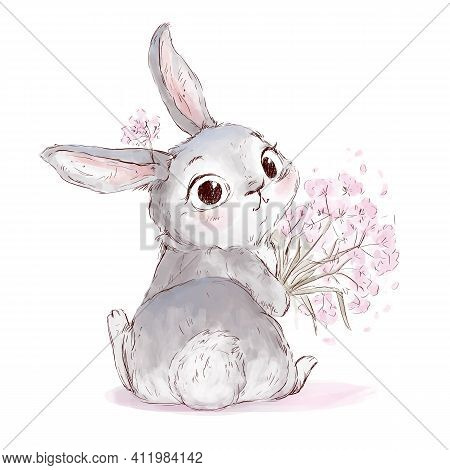 Cute Little Rabbit Holding Bouquet Of Flowers