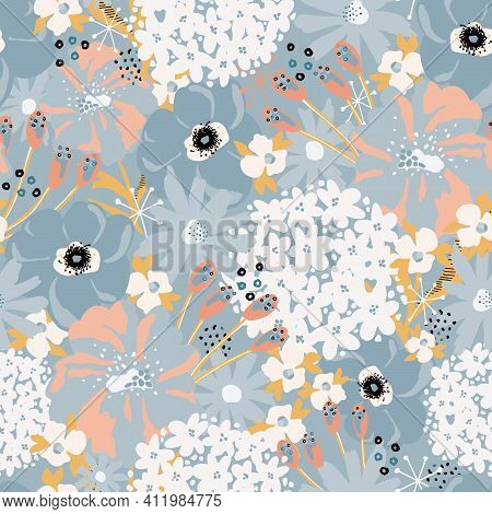 Abstract Florals Seamless Vector Pattern. Repeating Flower Background Hydrangea, Aster, Poppy Blue W