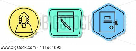 Set Line Judge, Evidence Bag And Knife And Lawsuit Paper. Colored Shapes. Vector