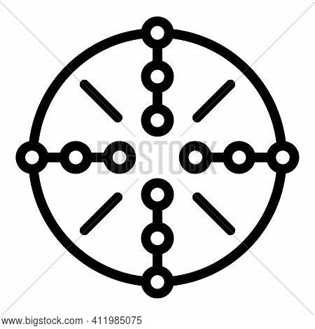 Center Scope Sight Icon. Outline Center Scope Sight Vector Icon For Web Design Isolated On White Bac