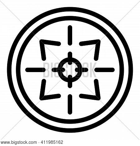 Rifle Sight Icon. Outline Rifle Sight Vector Icon For Web Design Isolated On White Background
