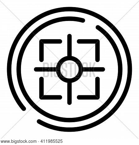 Crosshair Reticle Icon. Outline Crosshair Reticle Vector Icon For Web Design Isolated On White Backg