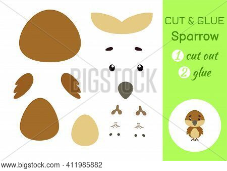 Cut And Glue Paper Little Sparrow. Kids Crafts Activity Page. Educational Game For Preschool Childre