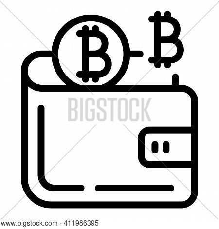 Blockchain Wallet Icon. Outline Blockchain Wallet Vector Icon For Web Design Isolated On White Backg