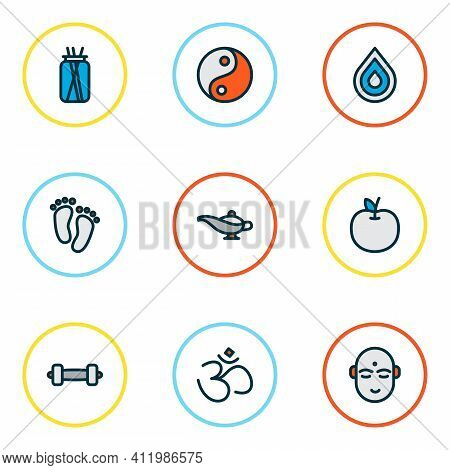 Meditation Icons Colored Line Set With Feet, Hinduism, Lamp And Other Tao Elements. Isolated Illustr