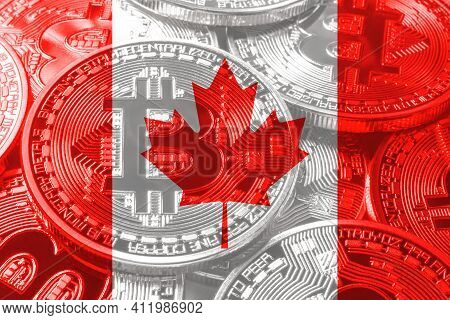Canada Bitcoin Flag, National Flag Cryptocurrency Concept Black Background