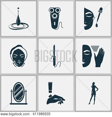 Glamour Icons Set With Mirror, Face Lifting, Water Drop And Other Curler Elements. Isolated Illustra