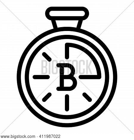 Blockchain Stopwatch Icon. Outline Blockchain Stopwatch Vector Icon For Web Design Isolated On White