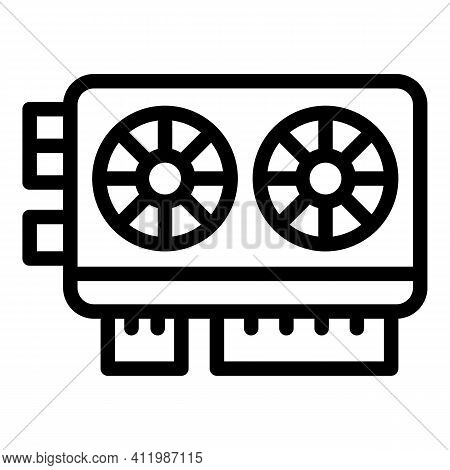 Blockchain Video Card Icon. Outline Blockchain Video Card Vector Icon For Web Design Isolated On Whi