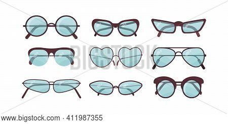 Accessory Sun Spectacles Vector Set. Collection Of Colorful Sunglasses. Summer Eyeglasses.