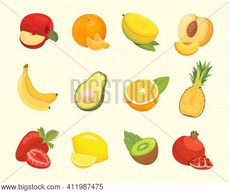 Vegetarian Food Icons In Cartoon Style. Color Fresh Tropical Organic Fruits. Health Fruity Harvest I