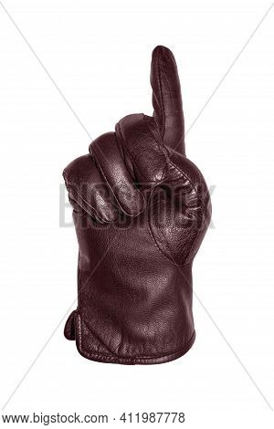 A Hand In A Red Leather Glove Makes A Gesture With One Finger Up.the Gesture Shows A Gloved Index Fi