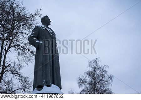 Moscow, Russia, February 19, 2018 - Monument To The Dzerzhinsky Head Of The Cheka Of The Ussr, Who S