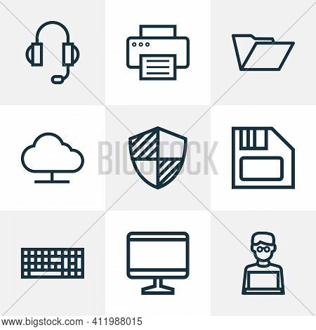 Hardware Icons Line Style Set With Online Cloud, Print, Headphones And Other Earphones Elements. Iso