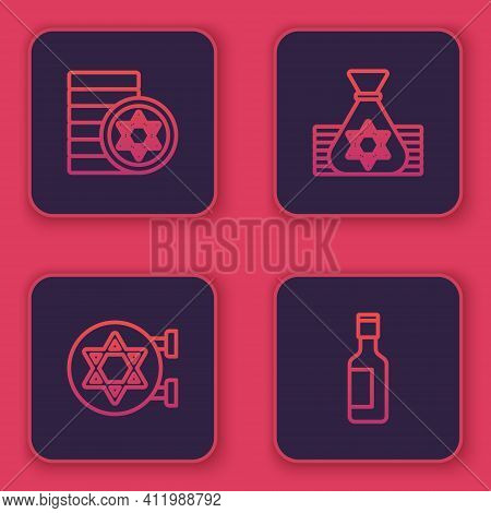 Set Line Jewish Coin, Synagogue, Money Bag And Wine Bottle. Blue Square Button. Vector