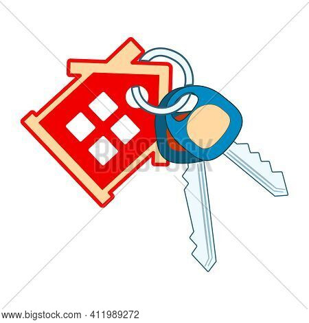 House Keyring And Key Isolated On White Background. Keys Making. Red House With Windows, Two Key And