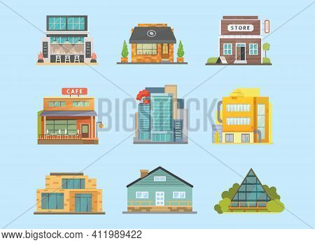 Set Of Different Styles Residential And City Houses. City Architecture Retro And Modern Buildings. H