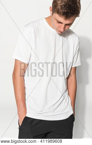 Teenage boy in white tee basic youth apparel shoot