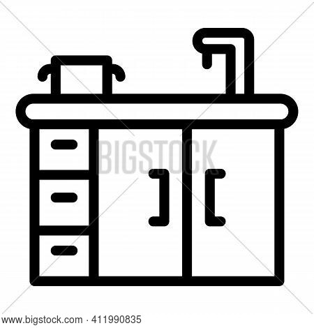 Kitchen Sink Icon. Outline Kitchen Sink Vector Icon For Web Design Isolated On White Background
