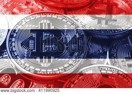 Thailand Bitcoin Flag, National Flag Cryptocurrency Concept Black Background