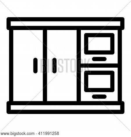Interior Kitchen Cabinet Icon. Outline Interior Kitchen Cabinet Vector Icon For Web Design Isolated