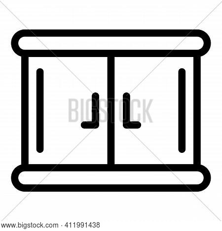 Wood Kitchen Cabinet Icon. Outline Wood Kitchen Cabinet Vector Icon For Web Design Isolated On White