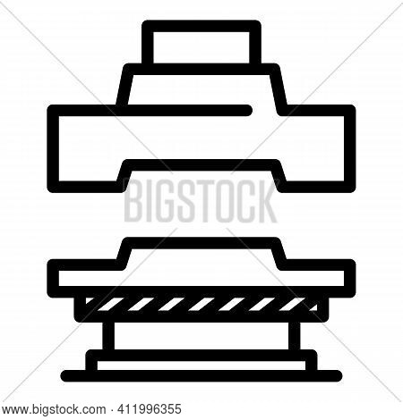 Manual Press Machine Icon. Outline Manual Press Machine Vector Icon For Web Design Isolated On White