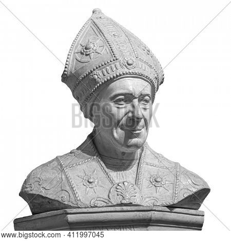 Marble statue of bishop Leonardo Salutati isolated on white background, was a Roman Catholic prelate who served as Bishop of Fiesole