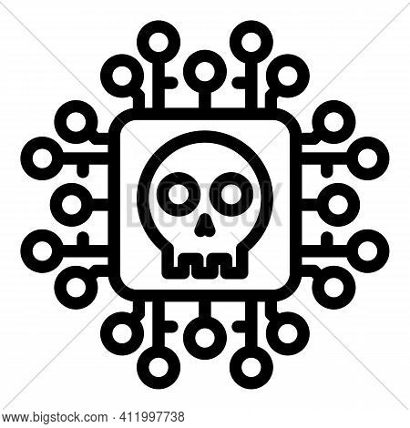 Cyber Malware Icon. Outline Cyber Malware Vector Icon For Web Design Isolated On White Background