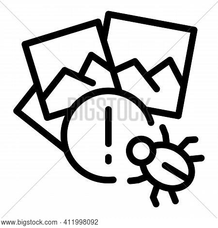 Malware Attack Icon. Outline Malware Attack Vector Icon For Web Design Isolated On White Background