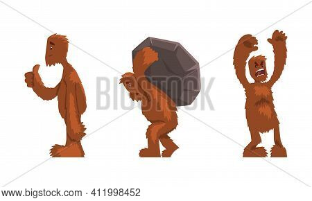 Cute Hairy Bigfoot In Various Actions Set, Friendly Mythical Creature Cartoon Character Vector Illus