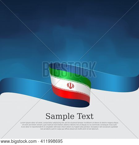 Iran Flag Background. State Iranian Patriotic Banner, Cover, Business Flyer. Wavy Ribbon Color Flag
