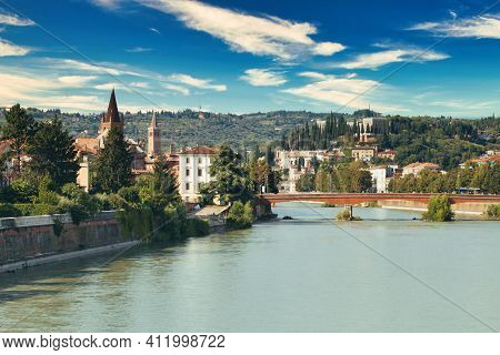 Verona, Italy - August 17, 2017: Beautiful Panoramic View Of The Bridges Of Verona.